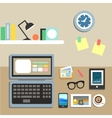 Set of office workplace items vector image vector image
