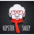 Sheep hipster dressed in red scarf vector image