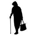 silhouette of an elderly woman with a cane vector image vector image