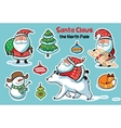 Stickers collection with cartoon Santa Claus vector image vector image