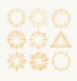 sunburst drawing set retro design rays vector image