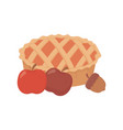 sweet pie apples and acorn on white background vector image