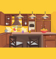 traditional classic wooden kitchen interior flat vector image vector image