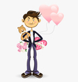 valentine boy greeting card vector image vector image