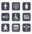 WC toilet icons Human male or female signs vector image vector image