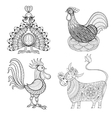 Cow Chicken in nest Rooster Turkey for adult vector image