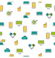 Seamless pattern - computer thin line icons vector image