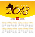 2018 year calendar with stylized dog vector image