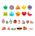 set with glossy caramel candies of various
