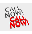 3d call now text design vector image
