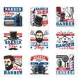barbershop hipster beard and haircut salon icons vector image