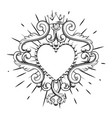 beautiful ornamental heart with crown in black vector image vector image