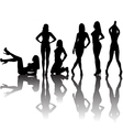 Black sexy women silhouettes with shadows vector image