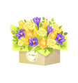 bouquet of roses and tulip vector image vector image