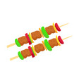 brochette meat and vegetables vector image