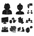 business conference and negotiations black icons vector image
