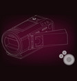 camera on burgundy vector image vector image