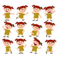 cartoon character girl set vector image vector image