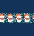 christmas border coronavirus seamless santa claus vector image vector image