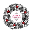 Christmas wreath hand drawn vector image vector image