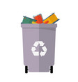 colored recycle waste bins waste vector image