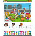 counting and adding task for kids vector image