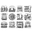 craft beer pub bar and brewing factory icons vector image vector image