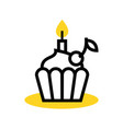 cupcake icon with a candle vector image vector image