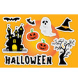 cute halloween sticker element silhouette castle vector image