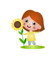 cute smiling girl kid find a big plant of vector image vector image