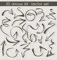 flat doodle hand drawn set arrows vector image vector image