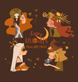 four beautiful halloween witches on brown vector image vector image