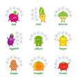 funny vegetable characters with vitamins vector image vector image