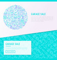 garage sale concept in circle with thin line icons vector image vector image