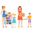 garage sale people selling second hand items vector image