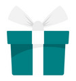 green mint gift box icon flat style vector image