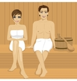happy couple relaxing together in wooden sauna vector image vector image