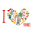 I love France Traditional French national set of vector image vector image