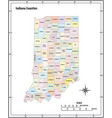 indiana state outline administrative map vector image vector image