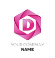 letter d logo symbol on colorful hexagonal vector image vector image