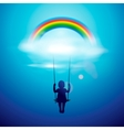 Little girl on a swing under the rainbow vector | Price: 1 Credit (USD $1)