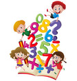 many children with numbers in the book vector image