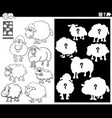 matching shapes game with sheep coloring book page vector image vector image