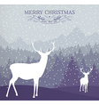 Merry christmas winter card holiday deer vector image