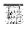 musical instruments saxophone and guitar on the vector image