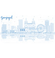 outline guayaquil ecuador city skyline with blue vector image vector image