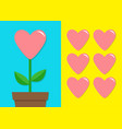 pink heart icon set flower pot cute plant vector image vector image