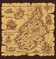 pirate treasure map old scroll sketch vector image vector image