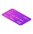 Purple credit card icon isometric style