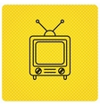 Retro tv icon Television with antenna sign vector image vector image
